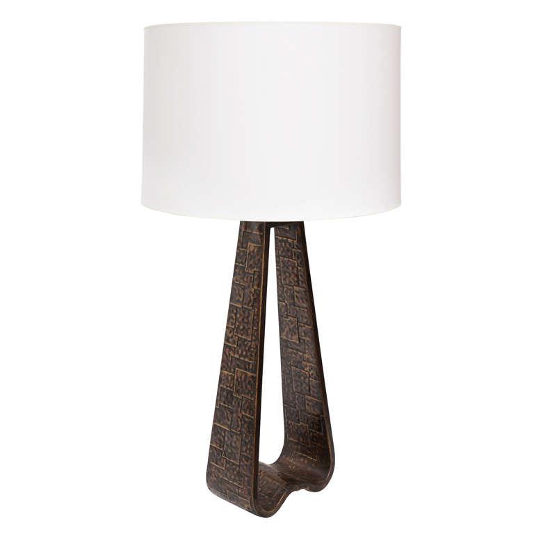 Fantoni Table lamp Brutalist Mid Century Modern brass Italy 1960's For Sale