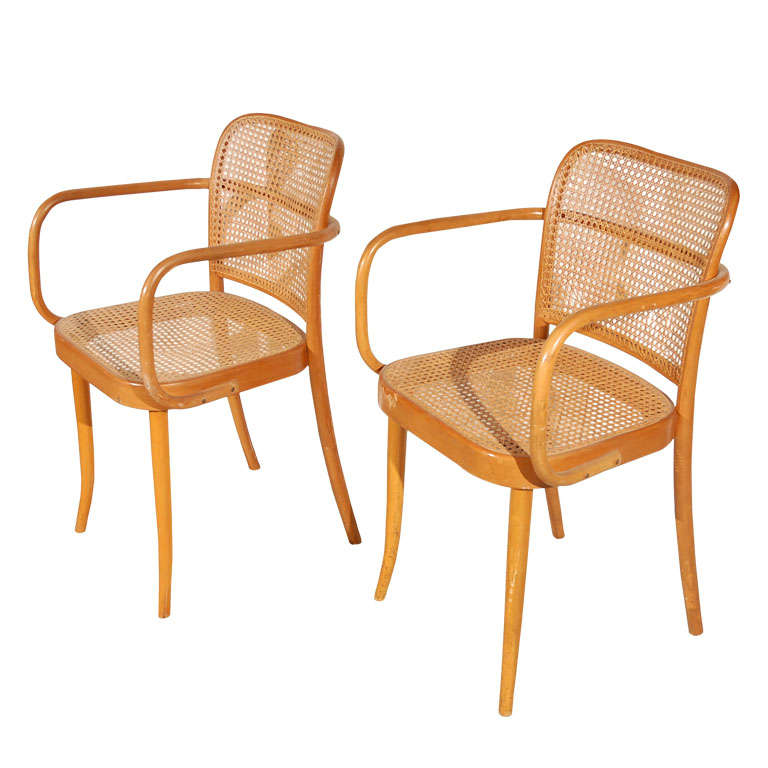"Pr. of Stendig ""Prague"" bentwood armchairs chairs, Josef Hoffman"