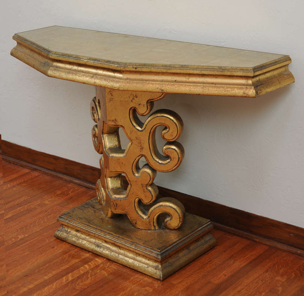 Gold Leaf Console Table In The Manner Of James Mont For