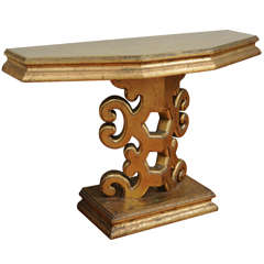 Gold Leaf Console Table in the Manner of James Mont