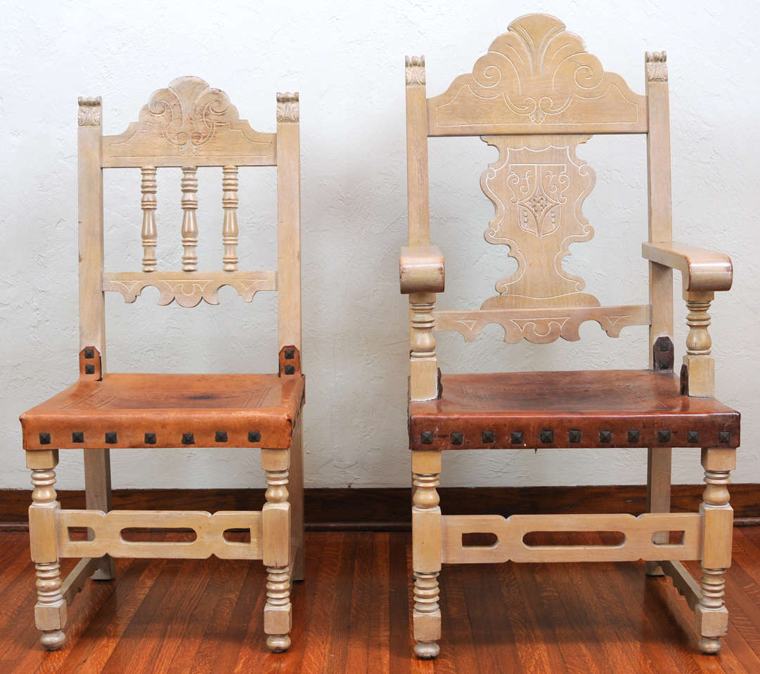 Addison Mizner Spanish Revival Dining Set With Eight Dining Chairs And  Table 2