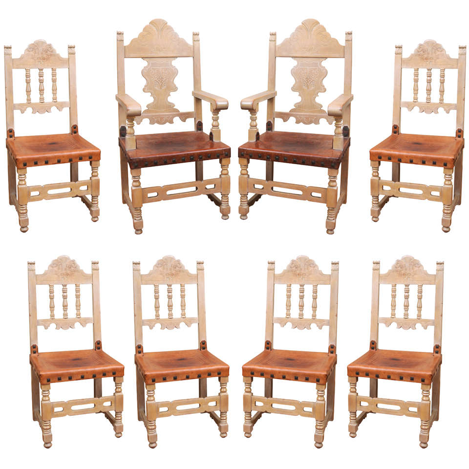 Addison Mizner Spanish Revival Dining Set With Eight Dining Chairs And Table  For Sale