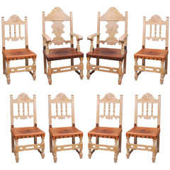 Addison Mizner Spanish Revival Dining Set with Eight Dining Chairs and Table