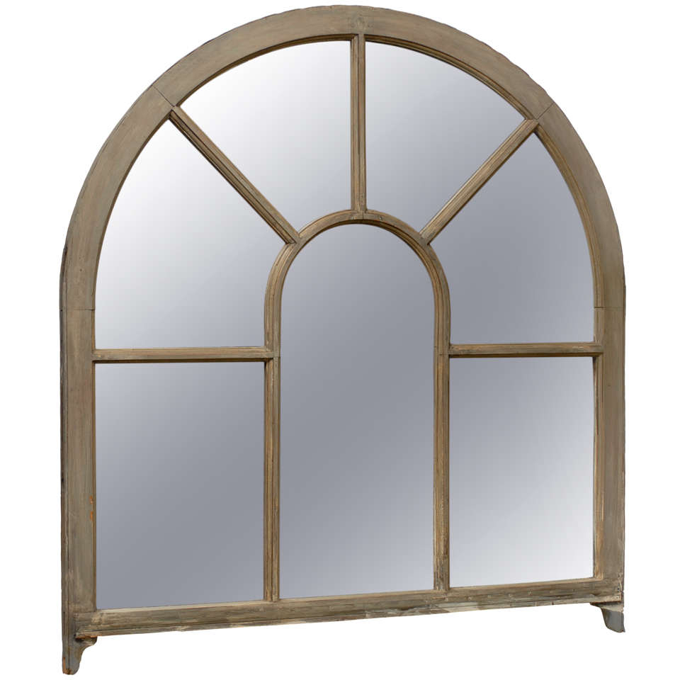 French Window Frame Palladium Painted Wood Mirror For Sale at 1stdibs