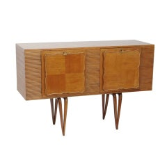Art Deco Style Italian Wooden Cabinet, Sideboard with Tapered Legs