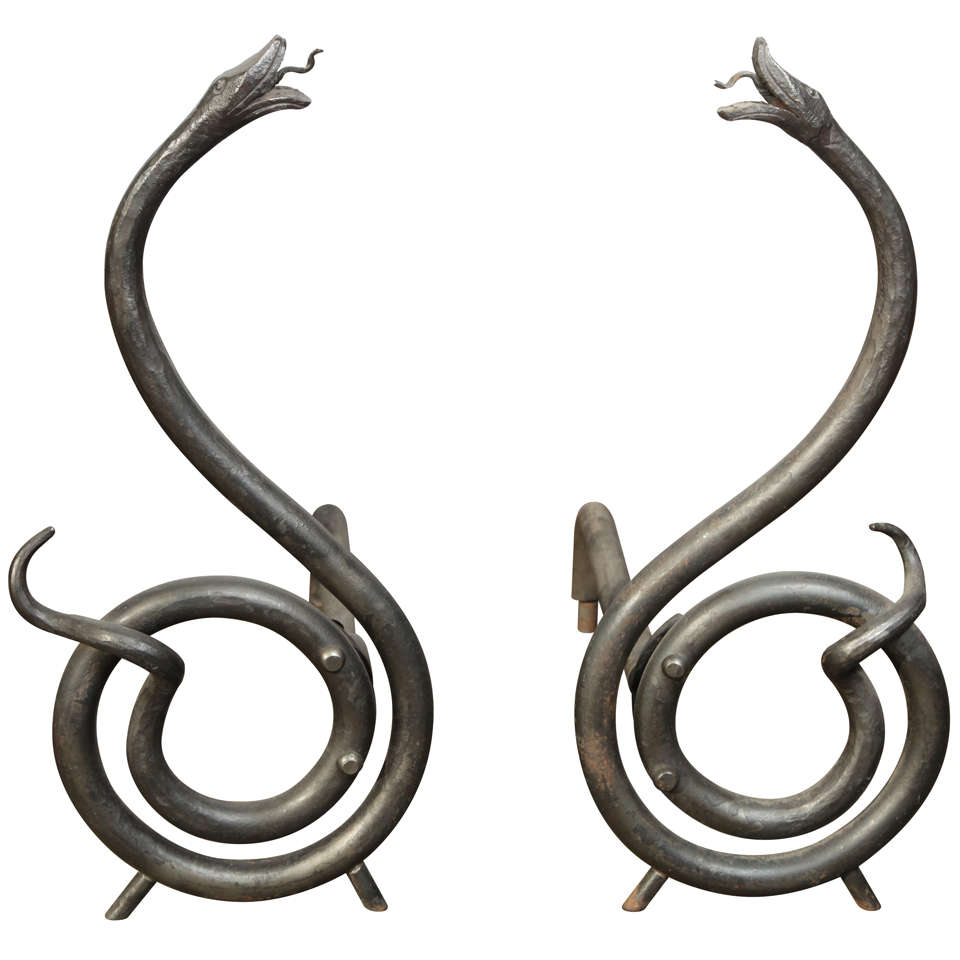 Serpent Hand-Forged Steel Andirons