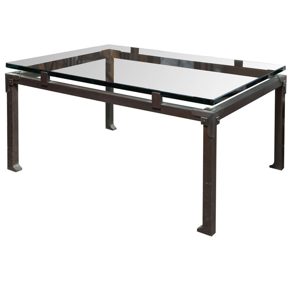 Bespoke industrial iron and glass coffee table for sale at 1stdibs Bespoke glass furniture