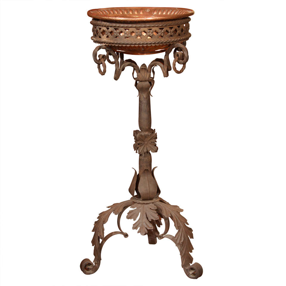 Wrought Iron Jardiniere With Copper Bowl At 1stdibs