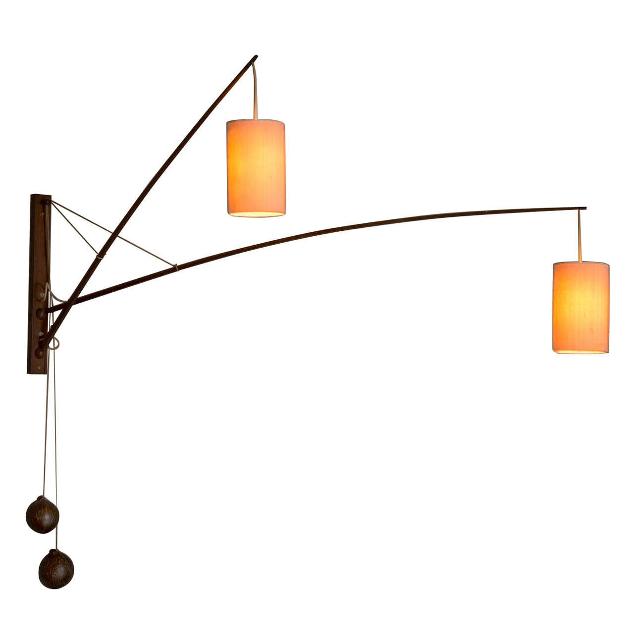 Set of 2 Double Solid Teak Adjustable Wall Lights with Coconut Counterweights at 1stdibs