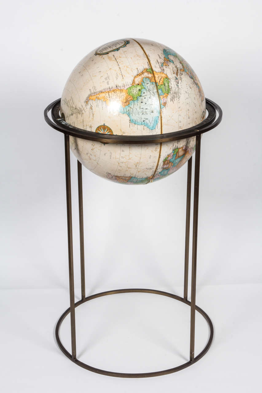 Mid-Century Modern World Globe in the Style of Paul McCobb For Sale