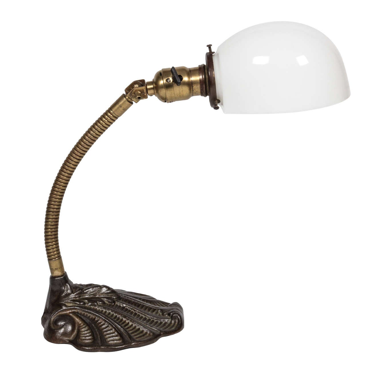 Antique Brass Desk Lamp with Milk Glass Shade For Sale - Antique Brass Desk Lamp With Milk Glass Shade At 1stdibs