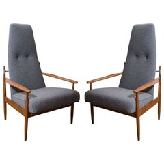 Pair of Danish Peter Hvidt Tall Lounge Chairs in Grey Flannel
