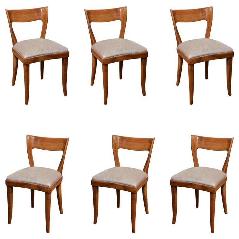 Set of Six Midcentury Italian Dining Chairs by Cassina For Sale
