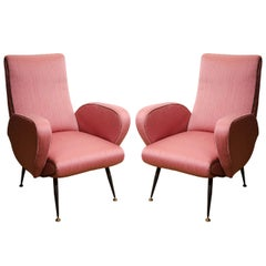 Pair of 1950s Italian Armchairs in the Style of Gianfranco Frattini