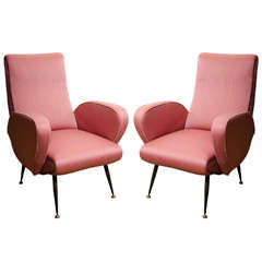 Pair of 1950's Italian Armchairs in the style of Gianfranco Frattini