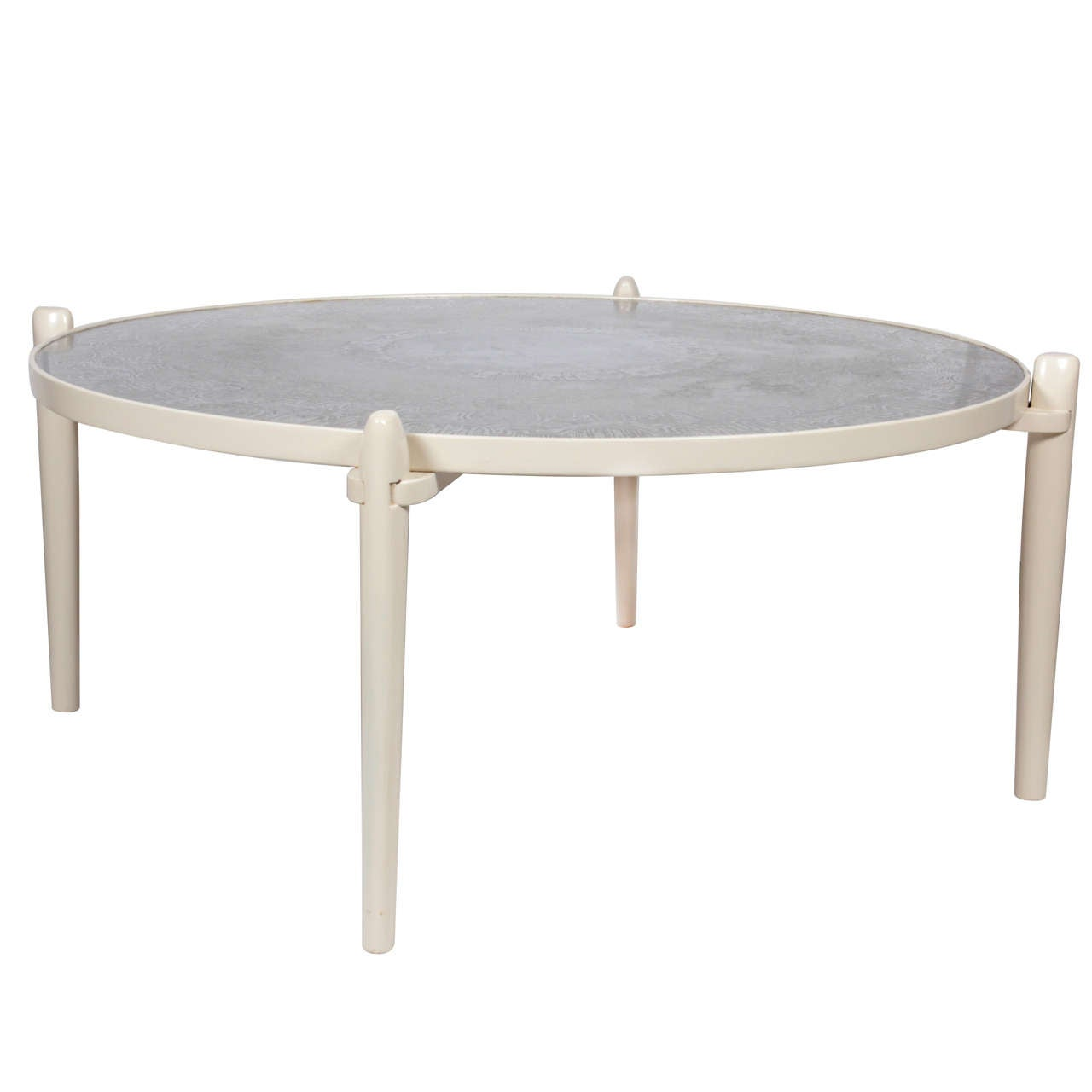 Etched Aluminum Circular Coffee Table
