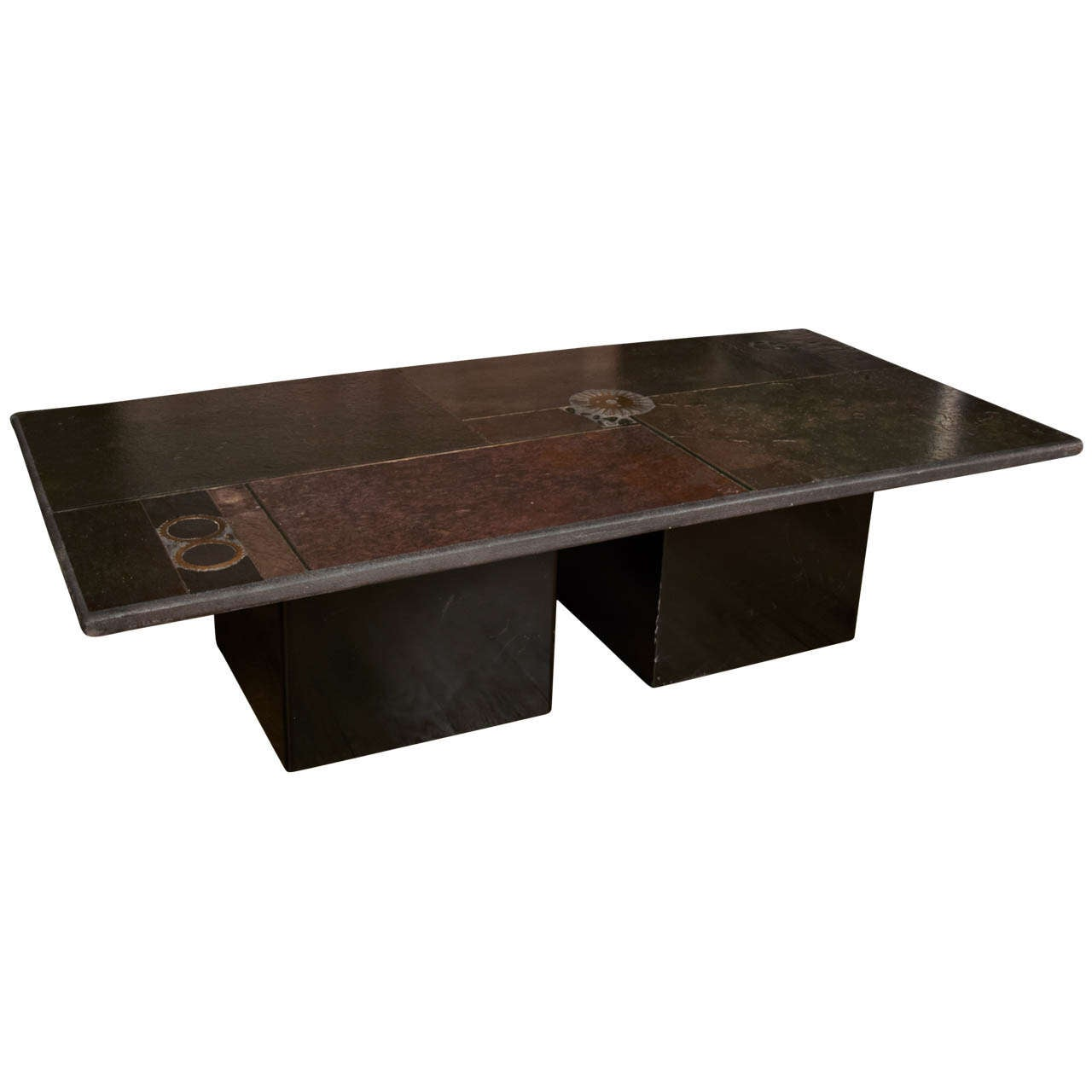 Paul Kingma Coffee Table With Slate Stone Top And Brass Inlay Circa 1980 At 1stdibs