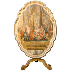 18th Century Italian Giltwood Hand-Painted Flip-Top Table