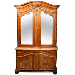 18th Century French Walnut Two-Part Cabinet