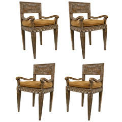Group of Four 18th Century Italian Armchairs