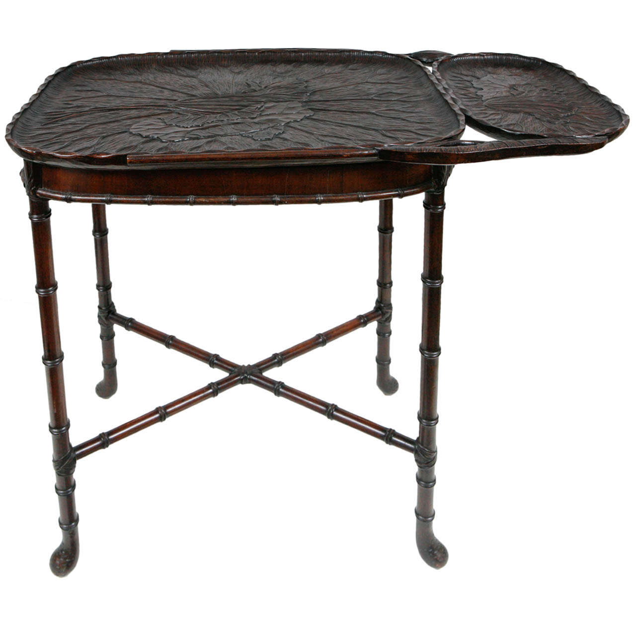 19th Century Japanese Walnut Tray on Stand
