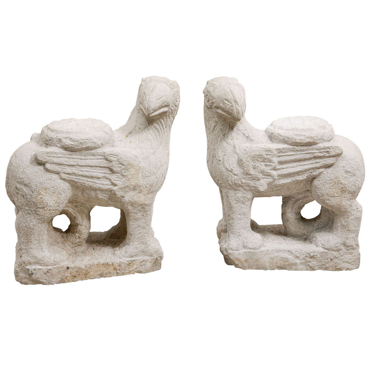 Pair of Roman Mythological Winged Creatures in Hand-Carved Stone