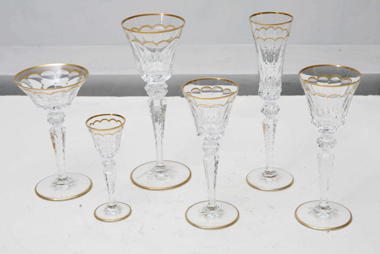 Set of 175 (approx.) Saint-Louis Cut Crystal with Gold.  Excellence Pattern. Various sizes and heights.  Measurement below is for Champagne Glass (11 inches tall)