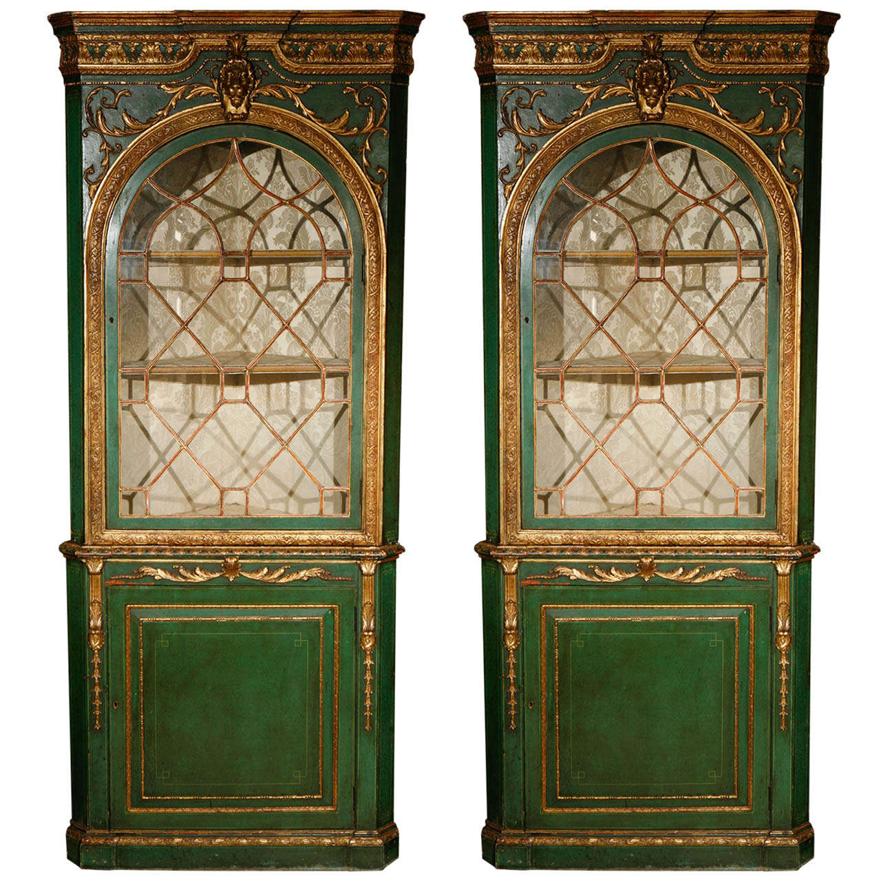 Pair of English Giltwood and Painted Two-Part Corner Cabinets