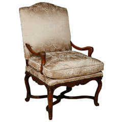 18th Century French Regence Single Walnut Armchair