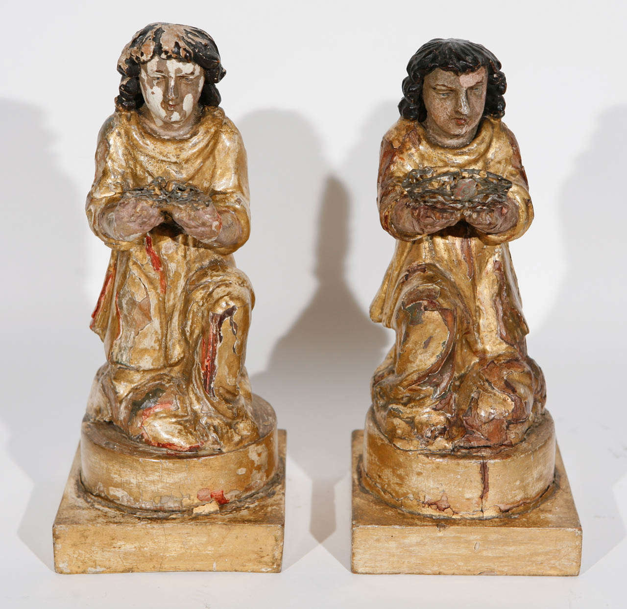 Pair of 18th c. Italian Carved Giltwood Saints.  The base measurement is 4.5 inches.