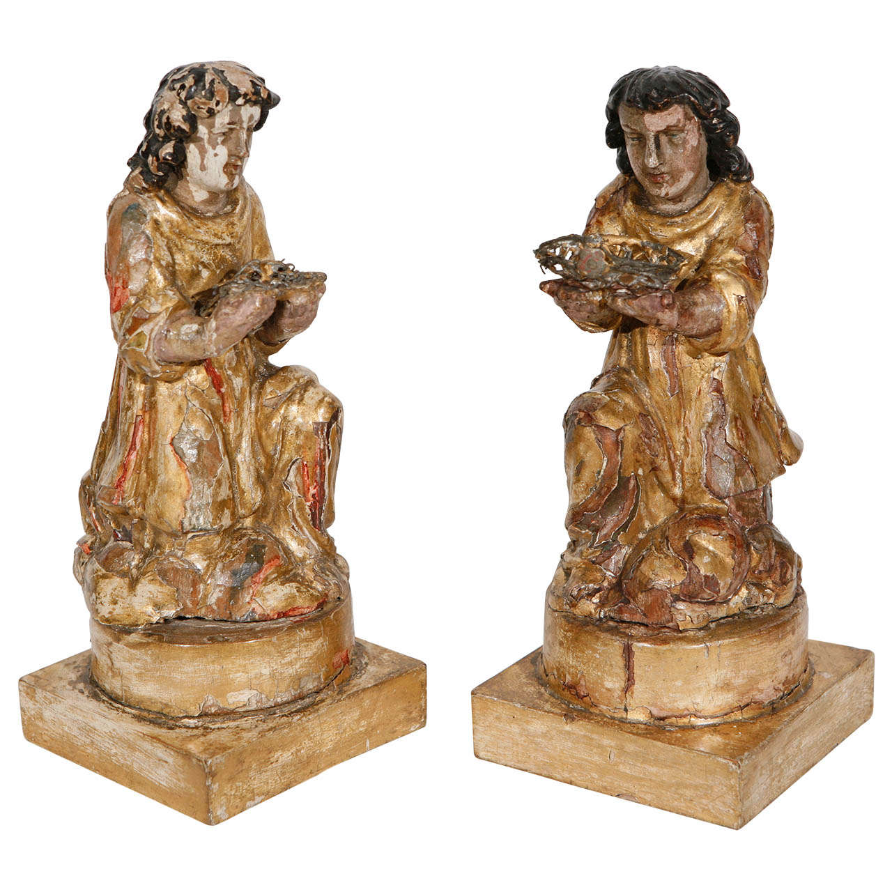 Pair of 18th Century Italian Carved Giltwood Saints