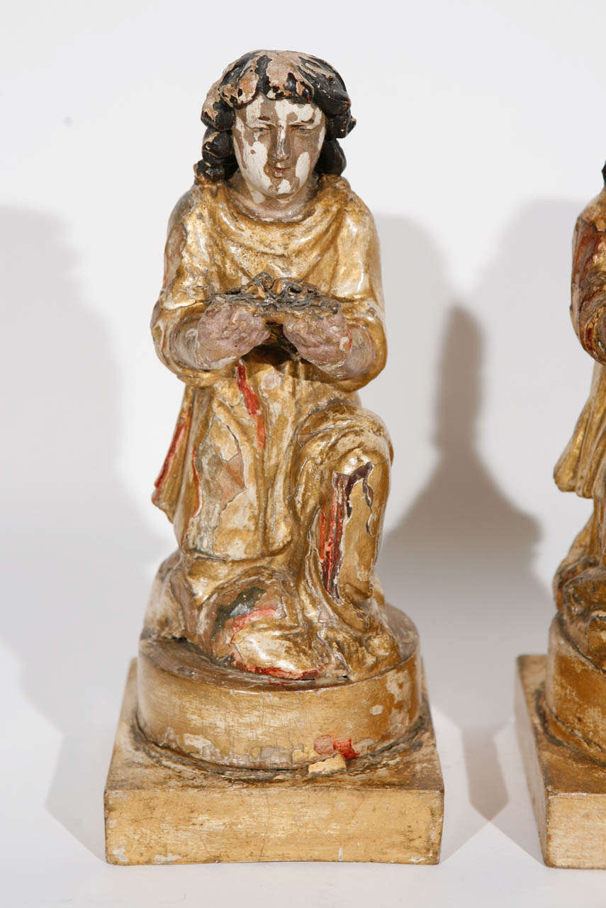 Pair of 18th Century Italian Carved Giltwood Saints In Good Condition For Sale In Los Angeles, CA