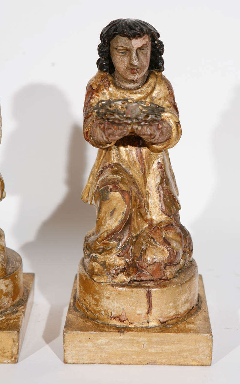 18th Century and Earlier Pair of 18th Century Italian Carved Giltwood Saints For Sale