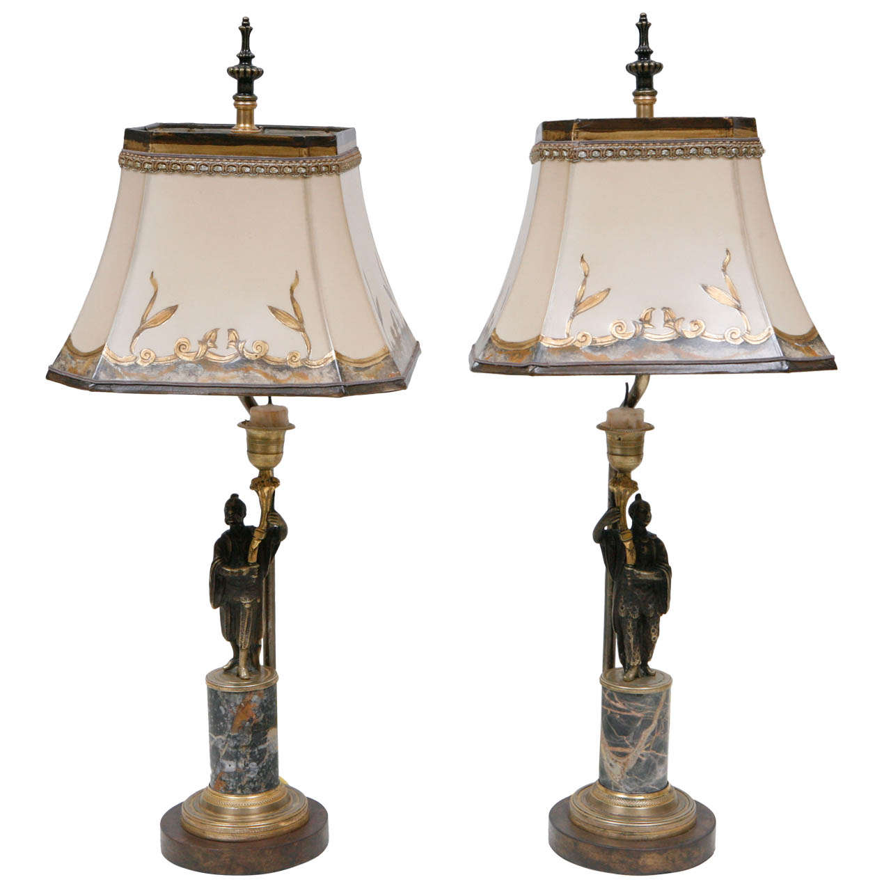 Pair of 19th c. French  Bronze Candlestick Lamps