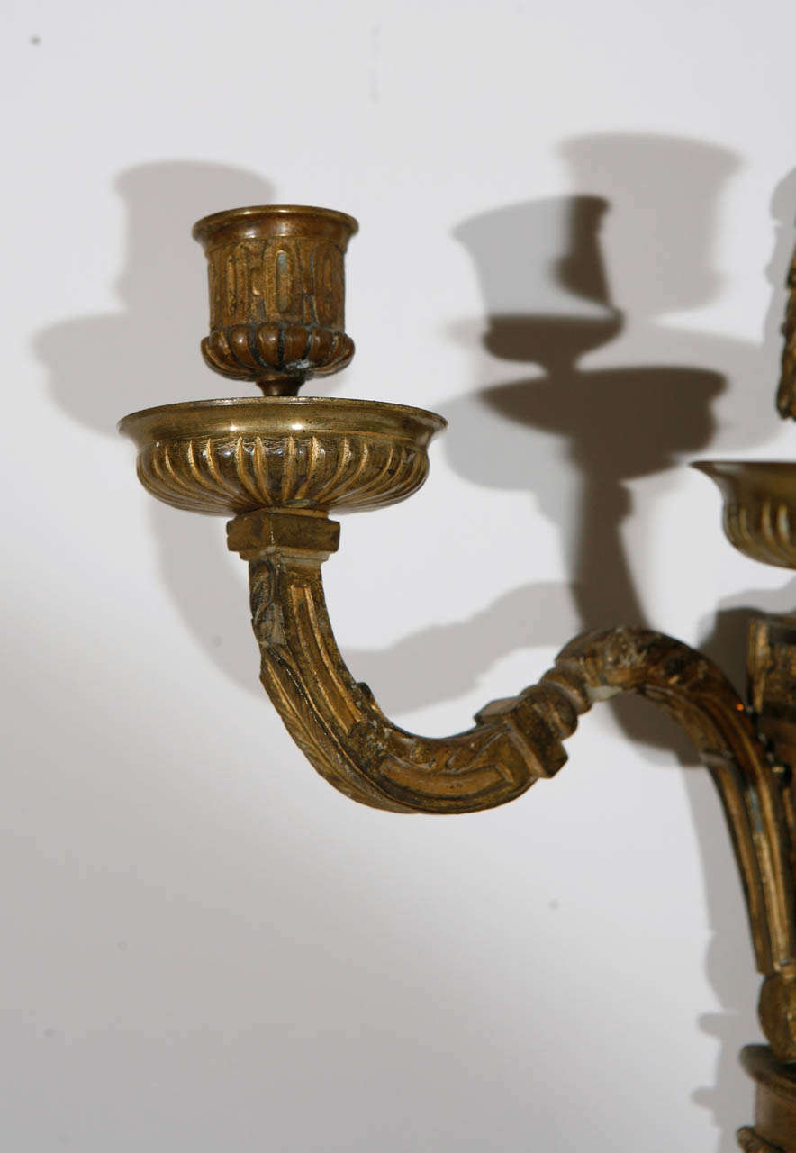 Gilt Pair of 19th Century French Dore Bronze Three-Arm Sconces For Sale