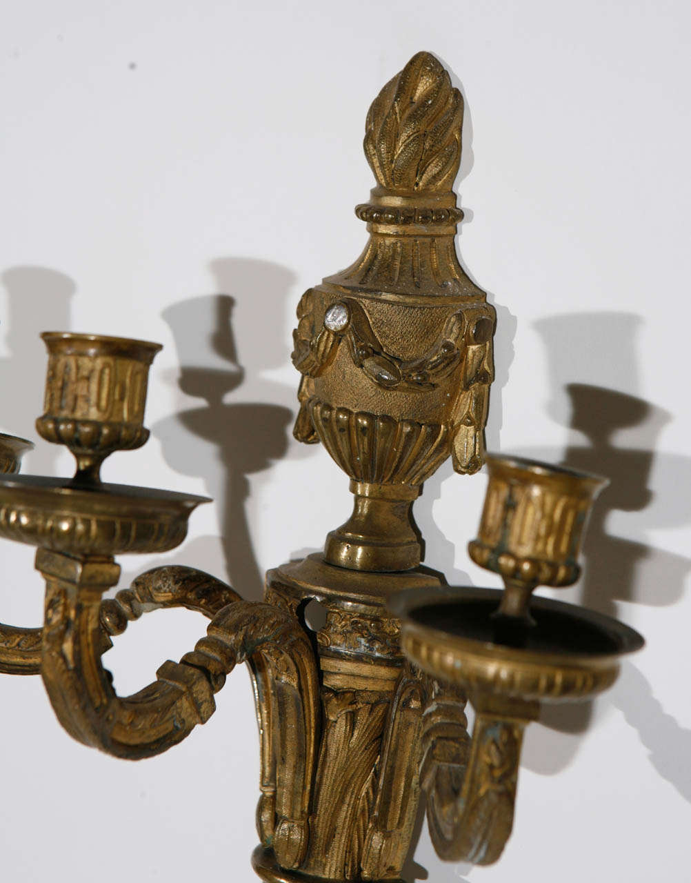 Pair of 19th Century French Dore Bronze Three-Arm Sconces For Sale 1