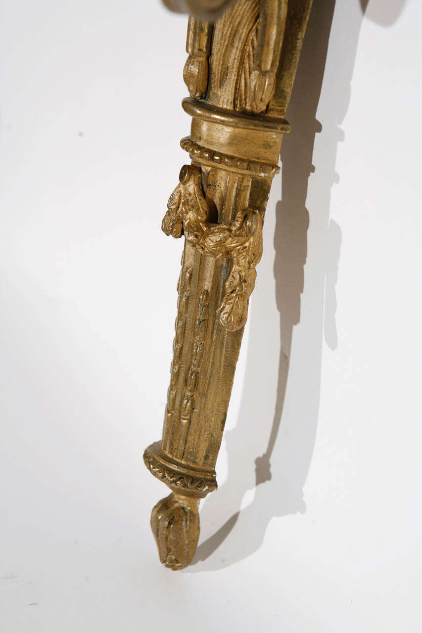 Pair of 19th Century French Dore Bronze Three-Arm Sconces For Sale 4