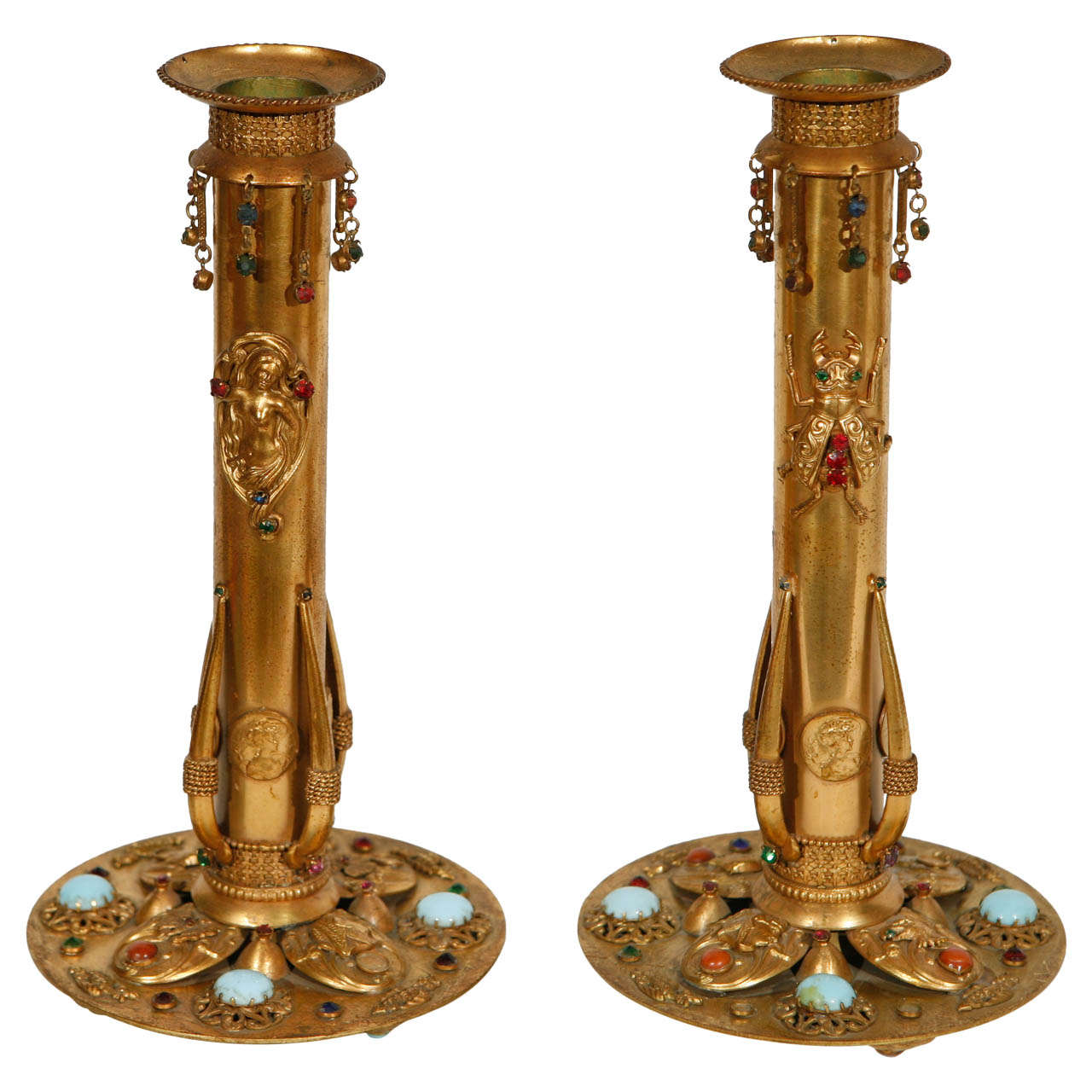 Pair of Circa 1900 French Egyptian Revival  Bronze Candlesticks