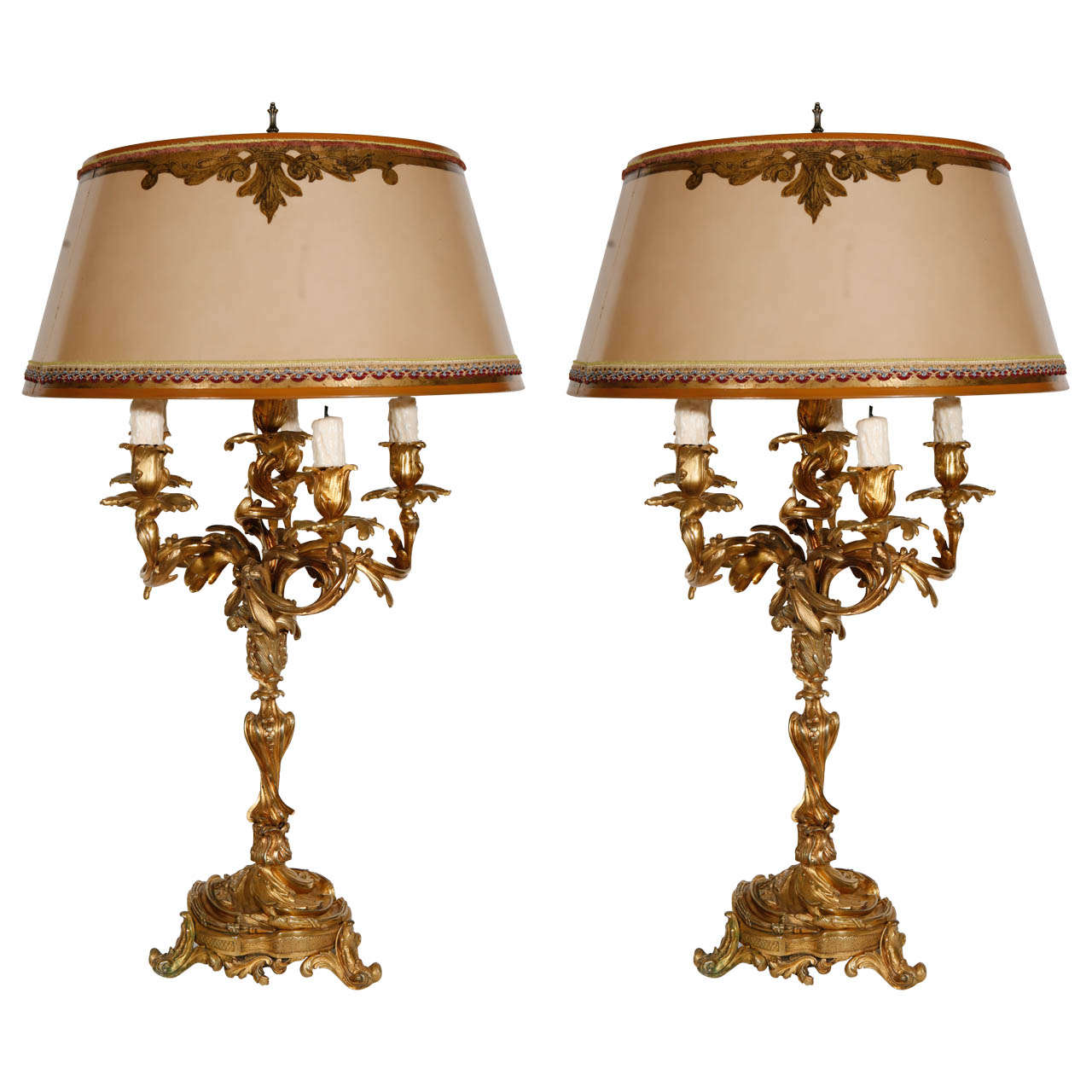 Pair Of 19th Century French Dore Bronze Candelabra Lamps