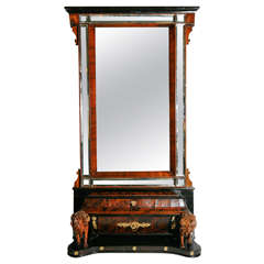 19th Century Italian Walnut Dressing Mirror