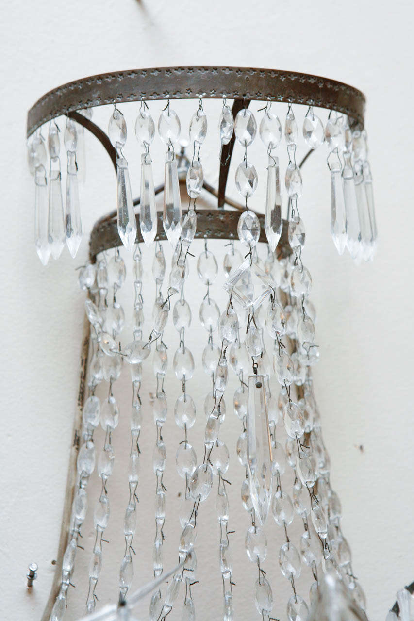 1920s French Crystal Sconces In Excellent Condition For Sale In Los Angeles, CA