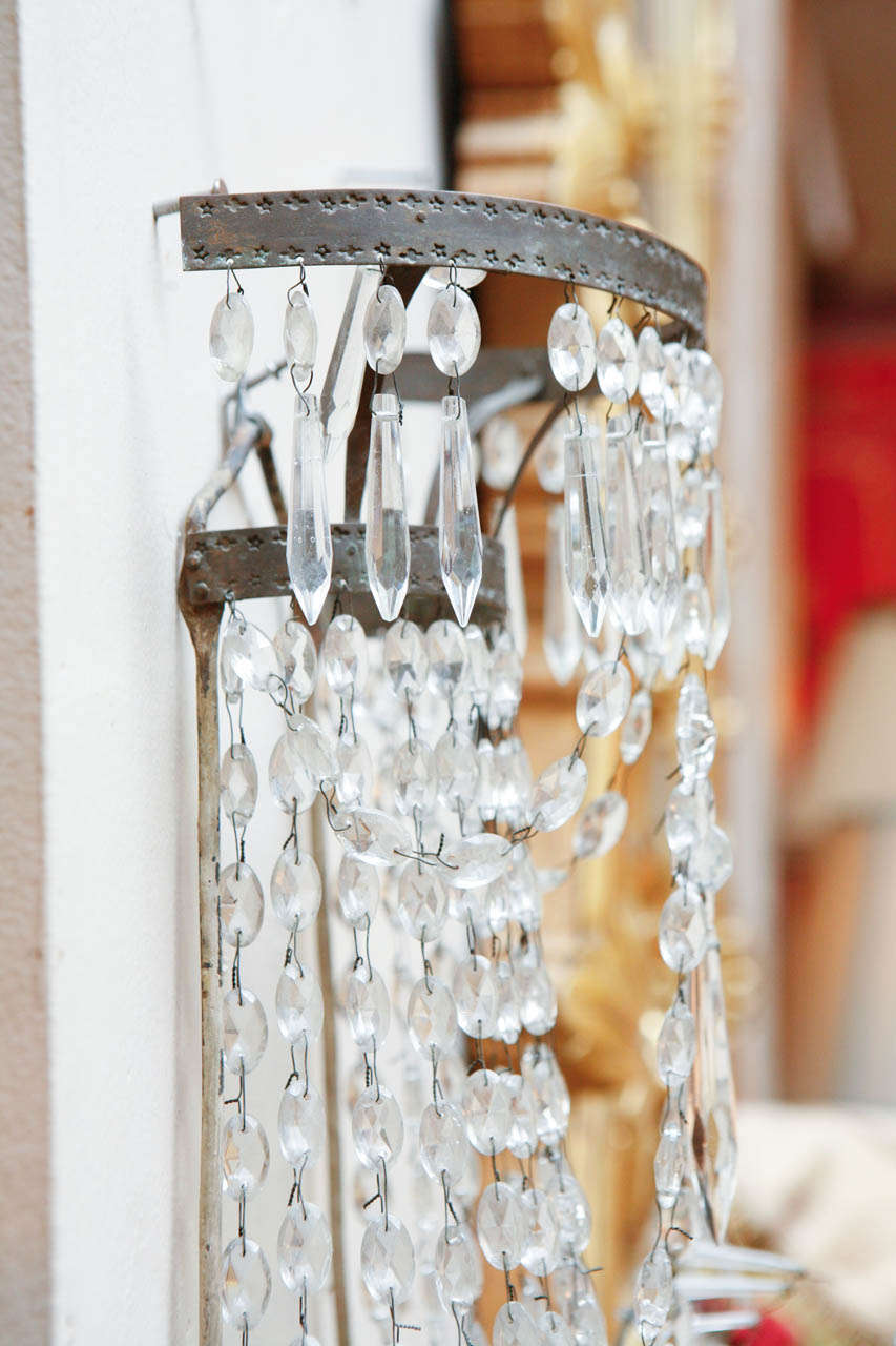 1920s French Crystal Sconces For Sale 5