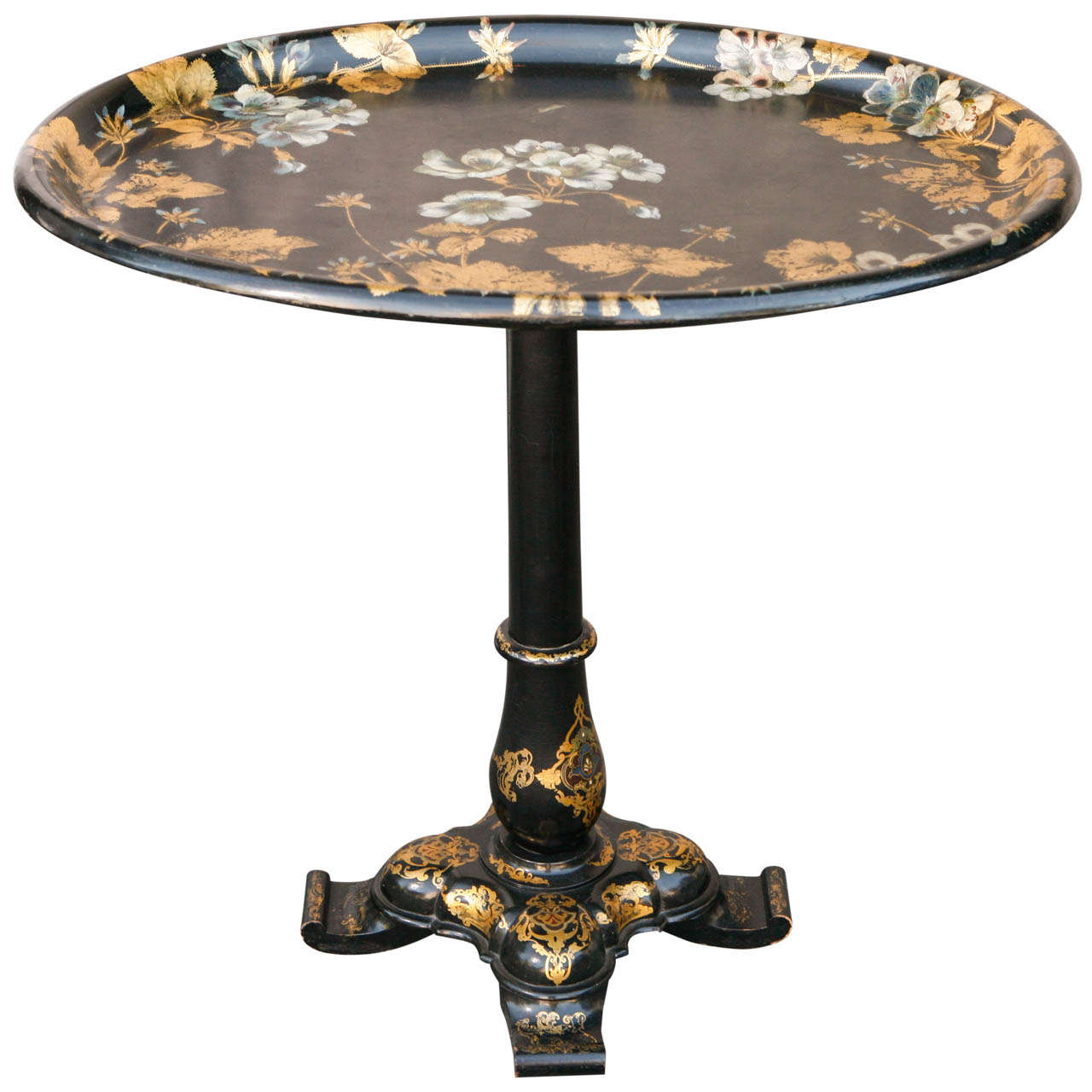 19th century french papier mache flip top tray table at for Table th rotate