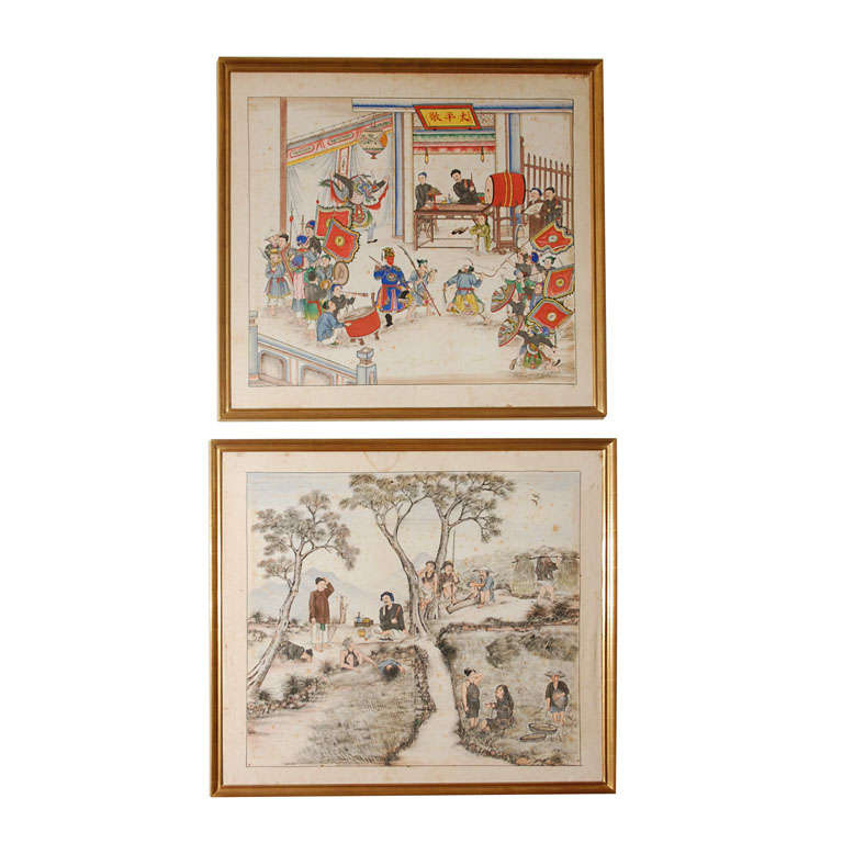 Pair of 19th Century Chinese Paintings For Sale