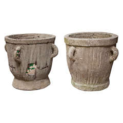 Near Pair of Faux Bois-Covered 19th Century Terracotta Planters