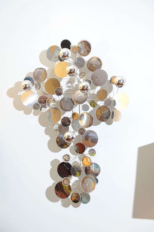 """C.Jere chrome """"Raindrops"""" wall sculpture, signed and dated."""