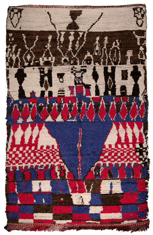 Moroccan rugs, crafted by women in the interior plains and mountains on fixed-heddle looms can vary greatly depending on the tribes that weave them. Nonetheless, they all use severely geometric Moroccan decoration, sometimes in muted tones,