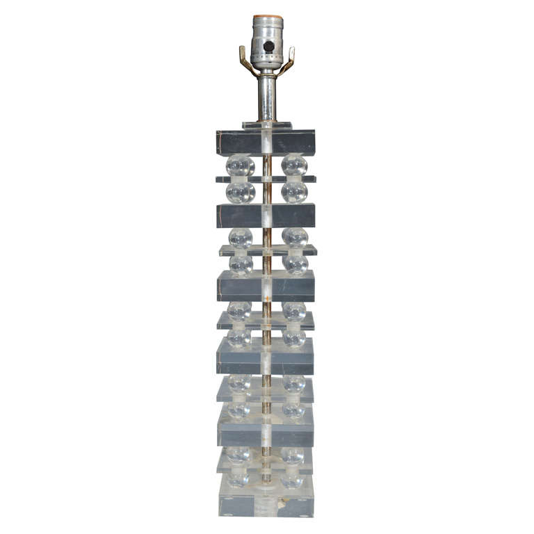 Single Mid Century Stacked Clear Lucite Table Lamp