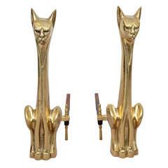 Pair of Modernist Brass Cat Andirons