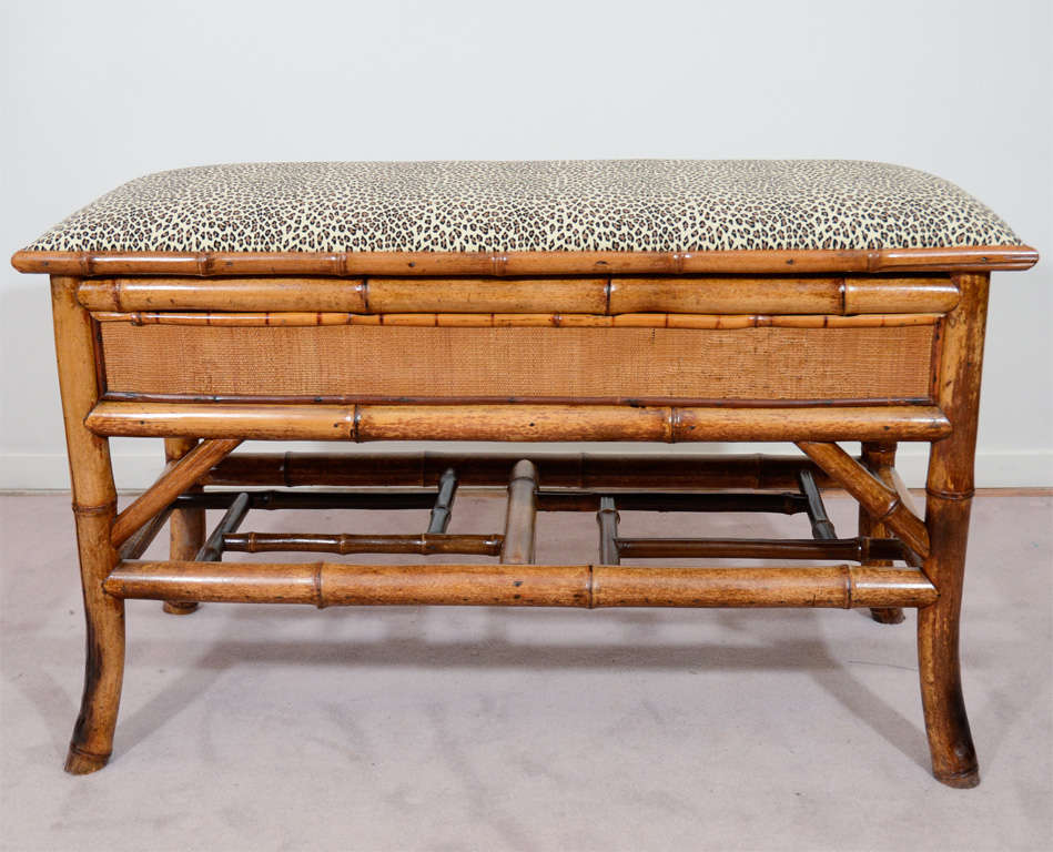 20th Century Turn of the Century Bamboo Bench with Storage